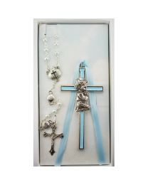 Blue Crib Cross and Blue Rosary Set Boxed
