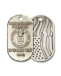 Sterling Silver Air Force Iraq Pendant with Light Rhodium Heavy Curb Chain