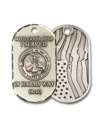 Sterling Silver Army Iraq Pendant with Light Rhodium Heavy Curb Chain