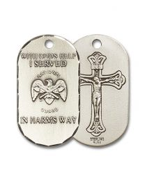 Sterling Silver National Guard Pendant with Light Rhodium Heavy Curb Chain