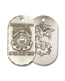 Sterling Silver Coast Guard Pendant with Light Rhodium Heavy Curb Chain