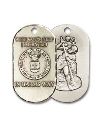 Sterling Silver Air Force Pendant with Light Rhodium Heavy Curb Chain