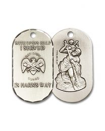 Sterling Silver National Guard Pendant with Sterling Silver Lite Curb Chain