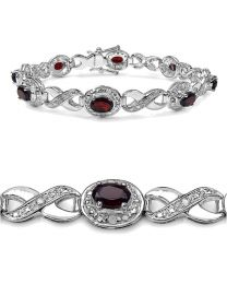 Genuine Round Diamond and Garnet Bracelet in Sterling Silver
