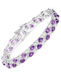 Genuine Oval Amethyst and White Topaz Bracelet in Sterling Silver