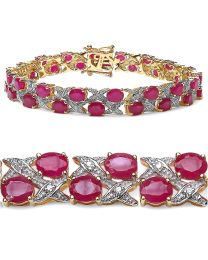 Genuine Round Diamond and Ruby Bracelet in Sterling Silver