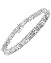 Genuine Round Diamond Bracelet in Sterling Silver