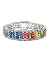 Genuine Oval Green Sapphire Yellow Sapphire and Orange Sapphire Bracelet in Sterling Silver