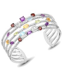 Genuine Cushion Amethyst Citrine and Blue Topaz Bracelet in Sterling Silver