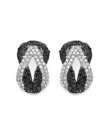 Genuine Round Black Diamond and Diamond Earrings in Sterling Silver