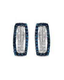 Genuine Round Blue Diamond and Diamond Earrings in Sterling Silver
