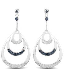 Genuine Round Diamond and Blue Diamond Earrings in Sterling Silver