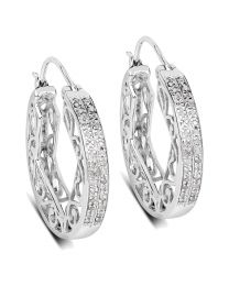 Genuine Round Diamond Earrings in Sterling Silver