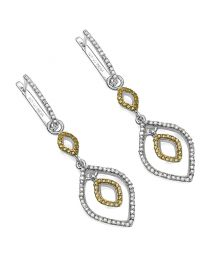 Genuine Round Diamond and Yellow Diamond Earrings in Sterling Silver