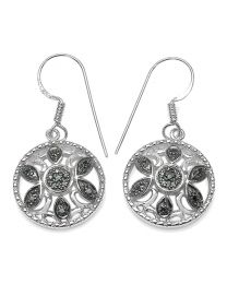 Genuine Round Blue Diamond Earrings in Sterling Silver