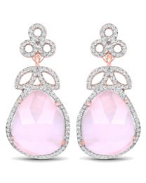 Genuine Fancy shape Rose Quartz and White Topaz Earrings in Sterling Silver