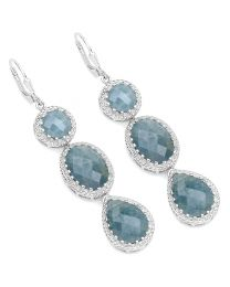 Genuine Checker board pears Aquamarine Earrings in Sterling Silver