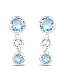 Genuine Round Blue Topaz Earrings in Sterling Silver