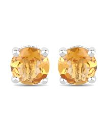 Genuine Round Citrine Earrings in Sterling Silver