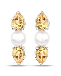 Genuine Pears Citrine Earrings in Sterling Silver
