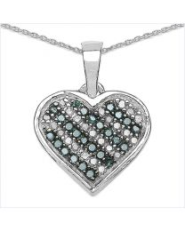 Genuine Round Blue Diamond and Diamond Pendant in Sterling Silver
