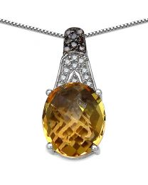 Genuine Oval Citrine Champagne Diamond and Diamond Pendant in Sterling Silver