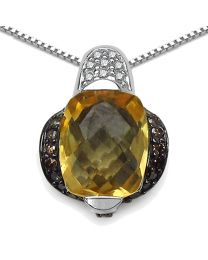 Genuine Cushion Citrine Champagne Diamond and Diamond Pendant in Sterling Silver