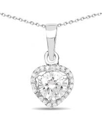 Genuine Round Cubic Zirconia Pendant in Sterling Silver