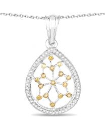 Genuine Round Diamond and Yellow Diamond Pendant in Sterling Silver
