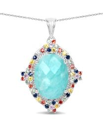 Genuine Oval Amazonite Blue Sapphire and Green Sapphire Pendant in Sterling Silver