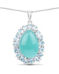 Genuine Fancy shape Amazonite and Blue Topaz Pendant in Sterling Silver