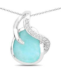 Genuine Fancy shape Amazonite and White Topaz Pendant in Sterling Silver