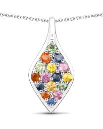 Genuine Round Green Sapphire and Green Sapphire Pendant in Sterling Silver