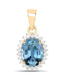 Genuine Oval Blue Sapphire and Diamond Pendant in 14k Yellow Gold