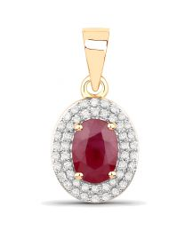 Genuine Oval Ruby and Diamond Pendant in 14k Yellow Gold