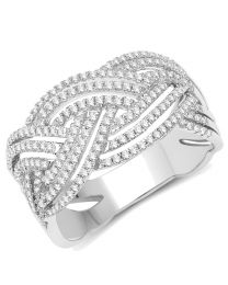 Genuine Round Diamond Ring in 14k White Gold - Size 8.00