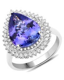 Genuine Pears Tanzanite and Diamond Ring in 14k White Gold - Size 7.00
