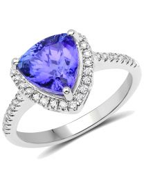 Genuine Trillion Tanzanite and Diamond Ring in 14k White Gold - Size 7.00