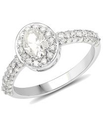 Genuine Oval Diamond Ring in 14k White Gold - Size 7.00
