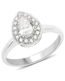 Genuine Pears Diamond Ring in 14k White Gold - Size 7.00