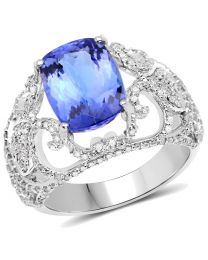 Genuine Cushion Tanzanite and Diamond Ring in 14k White Gold - Size 7.00