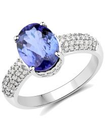 Genuine Oval Tanzanite and Diamond Ring in 14k White Gold - Size 7.00