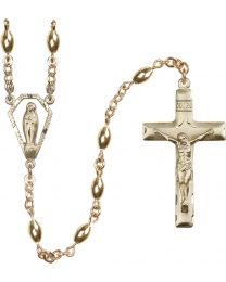 Miraculous Medal 14k Yellow Gold 5x7mm 14 Karat Gold Oval Rosary