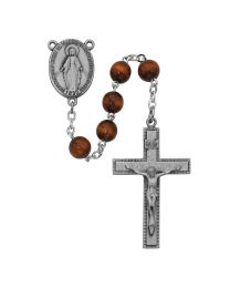 Brown Round Wood Rosary Boxed