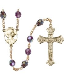 Novena 14k Yellow Gold 8mm Amethyst Swarovski, Capped Our Father Aurora