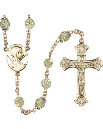 Novena 14k Yellow Gold 8mm Jnoquil Swarovski, Capped Our Father Aurora B