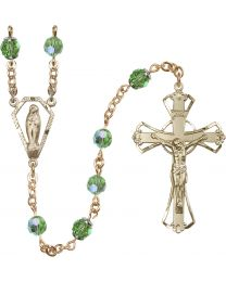 Miraculous Medal 14k Yellow Gold Filled 6mm Peridot Swarovski, Austrian Tin Cut Aurora Bo