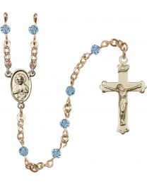 Scapular 14k Yellow Gold 4mm Aqua Swarovski Rosary