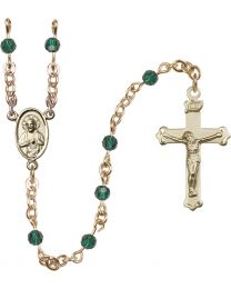 Scapular 14k Yellow Gold 4mm Emerald Swarovski Rosary