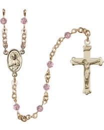 Scapular 14k Yellow Gold 4mm Light Rose Swarovski Rosary